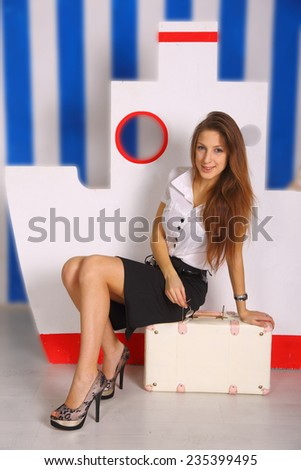 model posing in the style of a sea voyage - stock photo