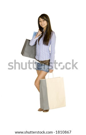 Model Release 315 Asian woman shopping - stock photo