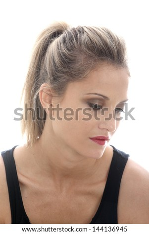 Model Released. Sad Thoughtful Young Woman - stock photo