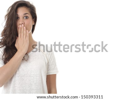 Model Released. Shocked Surprised Attractive Young Woman - stock photo