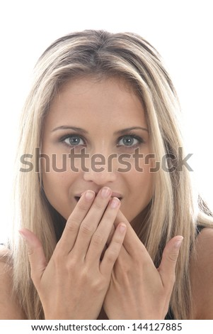 Model Released. Shy Demure Young Woman - stock photo