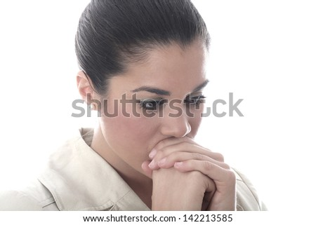 Model Released. Thoughful Worried Young Woman - stock photo