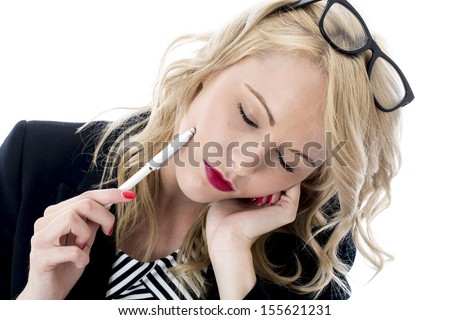 Model Released. Tired Exhausted Young Business Woman - stock photo