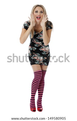 Model Released. Young Woman Modeling Short Mini Dress