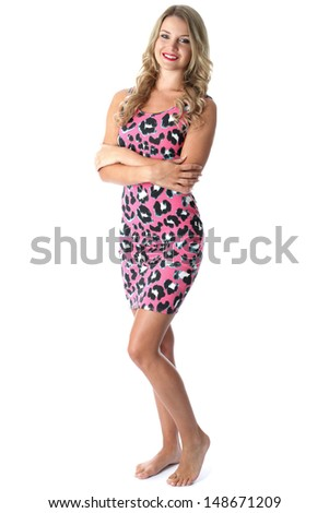 Model Released. Young Woman Wearing Pink Mini Dress