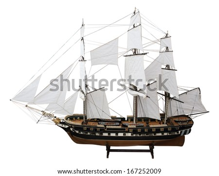Model Russian military frigate Pallada on the white background. (isolated) XIX Century