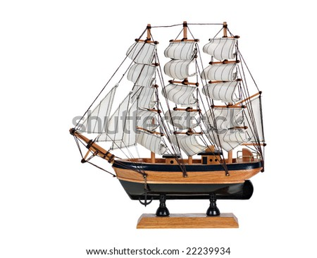 Model sail boat isolated on a white background
