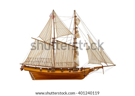 model sailing ship on a white background - stock photo