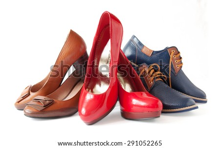 Model, sports and casual shoes pair isolated on white background - stock photo