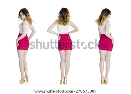 Model Tests, Young slim women posing in short red skirt, isolated on white