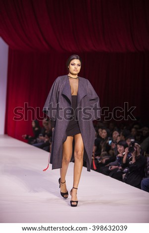 Model walks the runway for Designer Kim Mesches Fall Winter Collection 2016 during Style Fashion Week at The Gotham Hall in New York City on February 14th, 2016