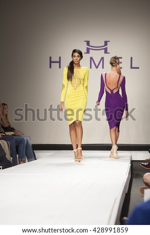 Model walks the runway for Hamel during Funkshion Fashion Week Spring 2016 at Studio 255 in Miami on March 19th, 2016