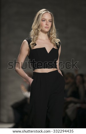 Model walks the runway for Leanne Marshall Fashion Show Fall Winter 2015 Collection during Mercedes Benz Fashion Week 2015 at The Lincol Center on February 18, 2015 in New York City - stock photo