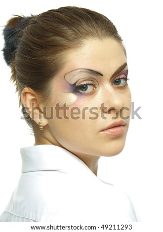 Model with art makeup isolated on white