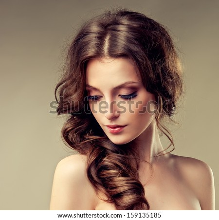 Model with curly hair - stock photo