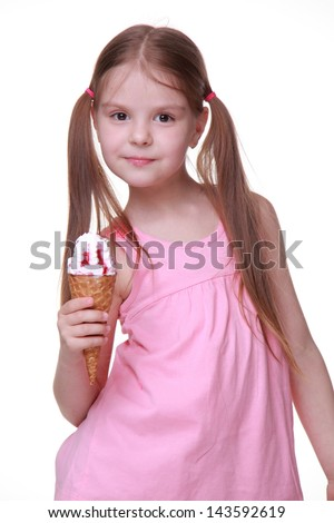 model with funny two tails and holding sweet ice-cream - stock photo