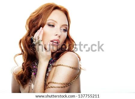 Model with jewelry - stock photo