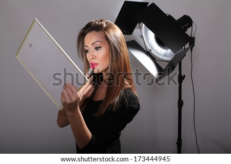 Model with lipstick - stock photo