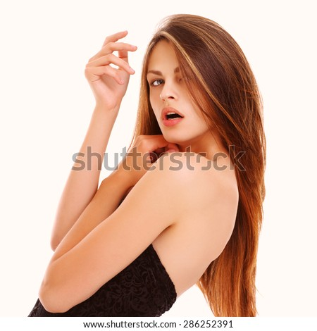 Model with long and shining hair. - stock photo