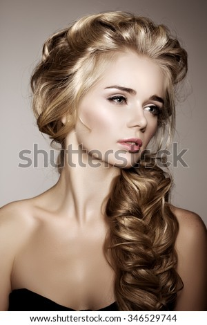 Model With Long Braided Hair Waves Curls Braid Hairstyle Salon Updo