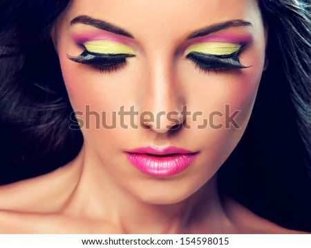 Model with  trendy makeup - stock photo