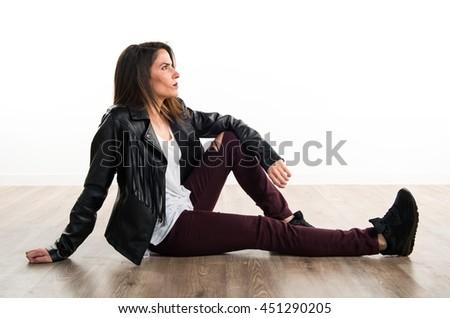 Model woman in studio - stock photo