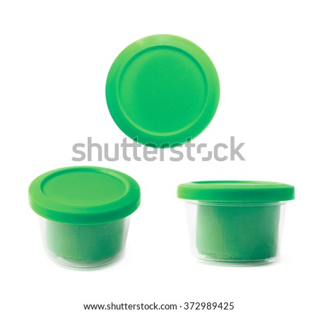Modeling clay in a container isolated - stock photo
