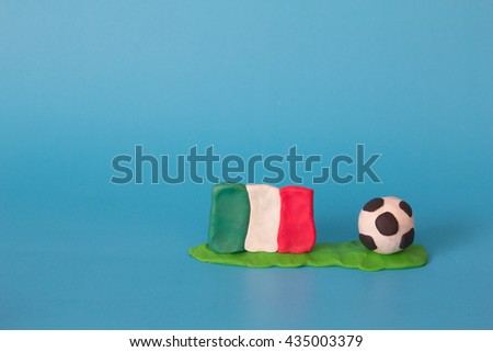 Modeling clay of Italy Flag with football , National Football Team,Euro 2016 - stock photo