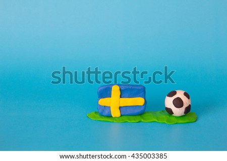 Modeling clay of Sweden Flag with football , National Football Team,Euro 2016 - stock photo