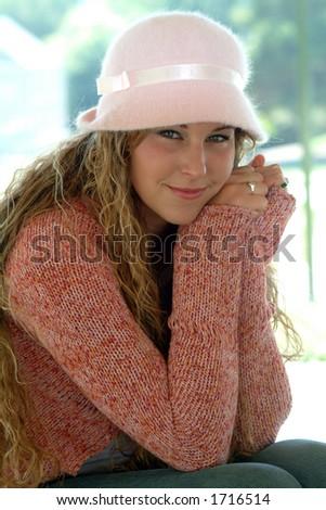 modeling hat - stock photo