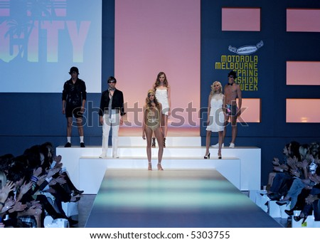Models at fashion show - stock photo