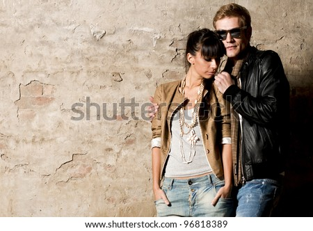 Models couple posing