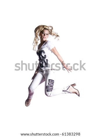 Models Jumping and Having fun - stock photo