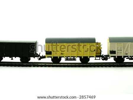 Models of a freight train on the white background