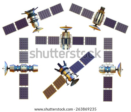 models of an artificial satellite from different angles - stock photo