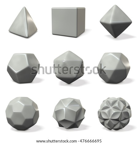 Models of polyhedron. 3D illustration