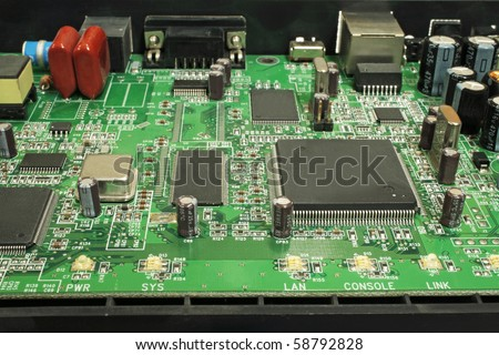 Modem disassembled, view of the electronic circuit boards. - stock photo