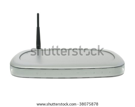 Modem router Wireless isolated on white background - stock photo