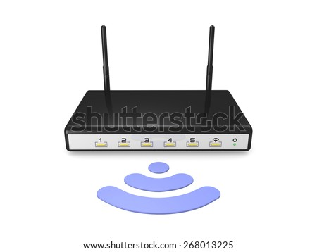 modem router wireless with wifi logo white background - 3d render - stock photo