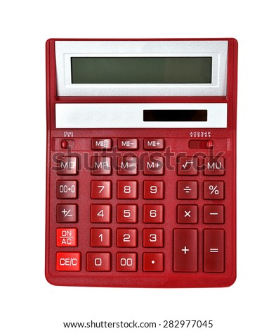 Moden Red Calculator on a White Background - stock photo