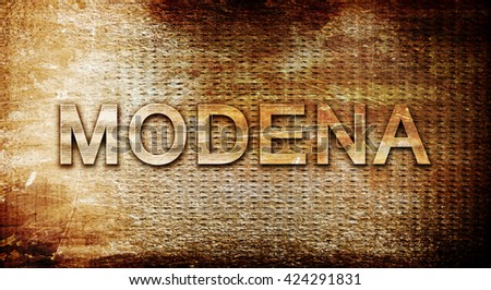 Modena, 3D rendering, text on a metal background