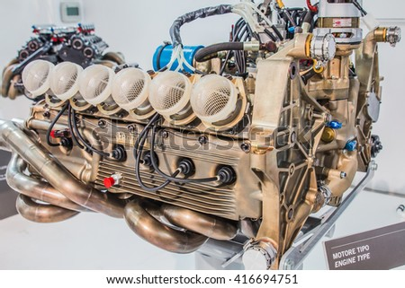 MODENA, ITALY - APRIL 2015: Museum  Enzo Ferrari Modena. Close up of engine type 015 1974, First use 312T.