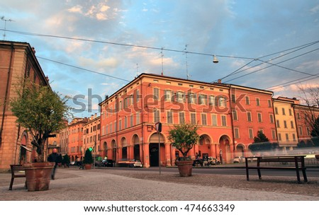 MODENA, ITALY - OCTOBER 10, 2013: Corso Canal Chiaro medieval street as the result of original construction of buildings that respected the position of the water channels that once flowed in the city