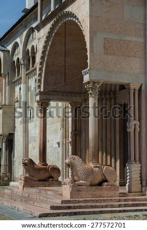 Modena main cathedral lateral gate - stock photo