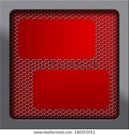 Moder oven concept. Highlighted frame plastic texture and red background covered by fine handled fender and holed or perforated grid. Empty surface, shadowed gray empty space for text, photo or image