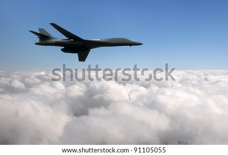 Moder strategic bomber flying at high altitude - stock photo