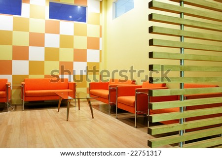 Moderm interior of a waiting room - stock photo