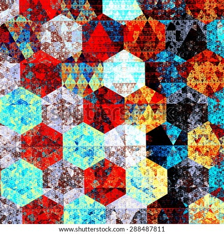 Modern abstract art composition. Artistic textile pattern design. Psychedelic style. Red blue background. Beautiful geometric illustration. Wallpaper patterns. Detail image. Fantasy pic. Backdrops. - stock photo