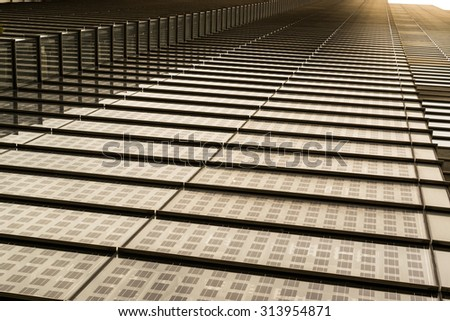 Modern abstract building design with repeating patterns - stock photo