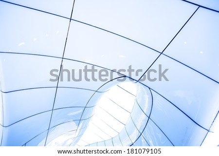 Modern abstract ceiling in blue horizontal view - stock photo